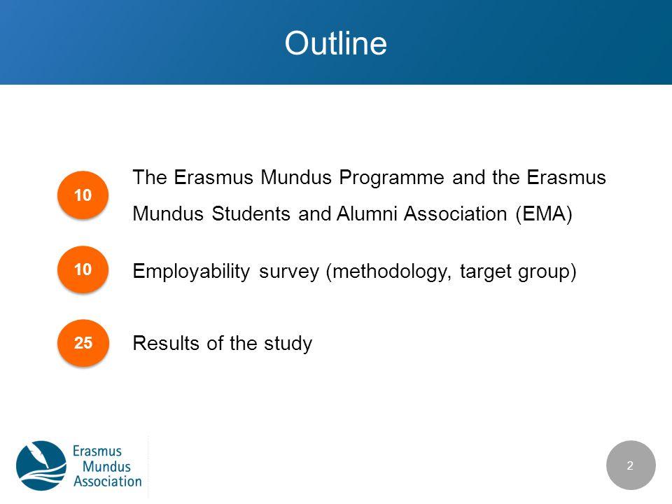 Outline The Erasmus Mundus Programme and the Erasmus Mundus Students and Alumni Association (EMA) Employability survey (methodology, target group) Res