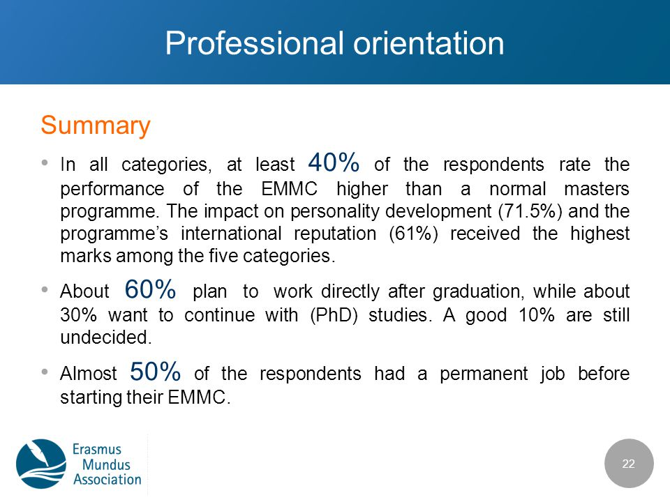Professional orientation In all categories, at least 40% of the respondents rate the performance of the EMMC higher than a normal masters programme. T