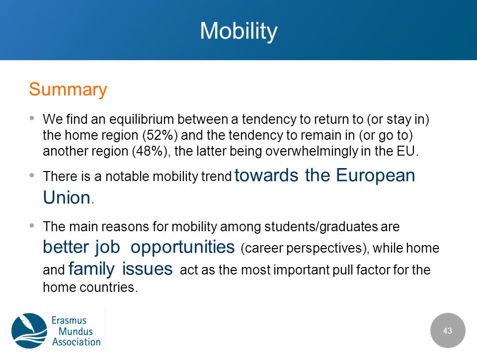 Mobility We find an equilibrium between a tendency to return to (or stay in) the home region (52%) and the tendency to remain in (or go to) another re