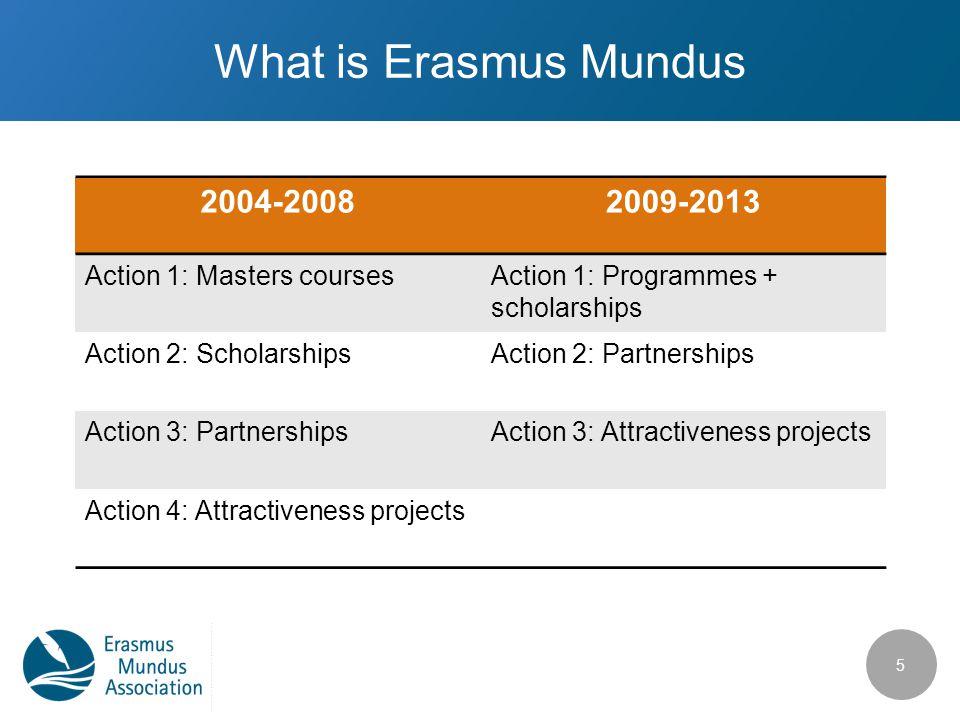 What is Erasmus Mundus 5 2004-20082009-2013 Action 1: Masters coursesAction 1: Programmes + scholarships Action 2: ScholarshipsAction 2: Partnerships