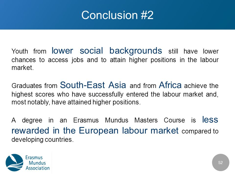 Conclusion #2 Youth from lower social backgrounds still have lower chances to access jobs and to attain higher positions in the labour market. Graduat