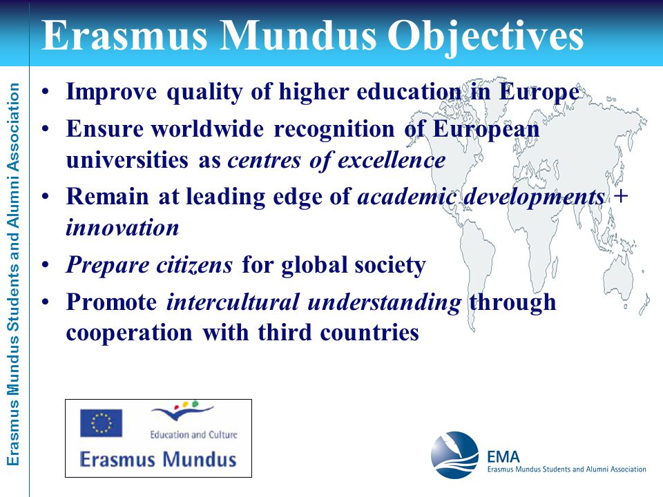 Erasmus Mundus Students and Alumni Association Erasmus Mundus Objectives Improve quality of higher education in Europe Ensure worldwide recognition of European universities as centres of excellence Remain at leading edge of academic developments + innovation Prepare citizens for global society Promote intercultural understanding through cooperation with third countries