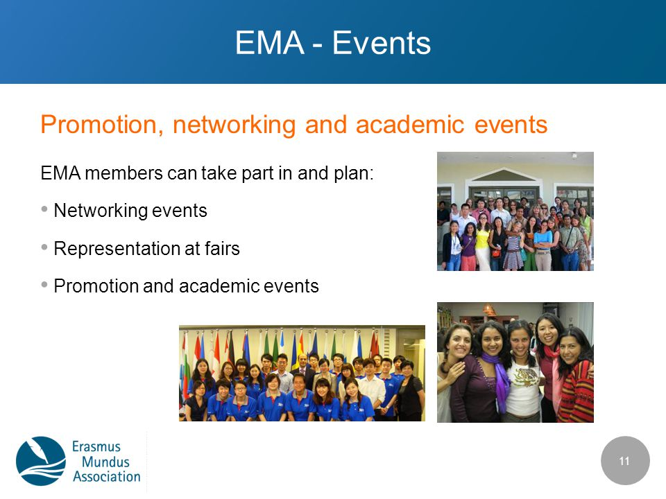 Promotion, networking and academic events EMA - Events EMA members can take part in and plan: Networking events Representation at fairs Promotion and academic events 11