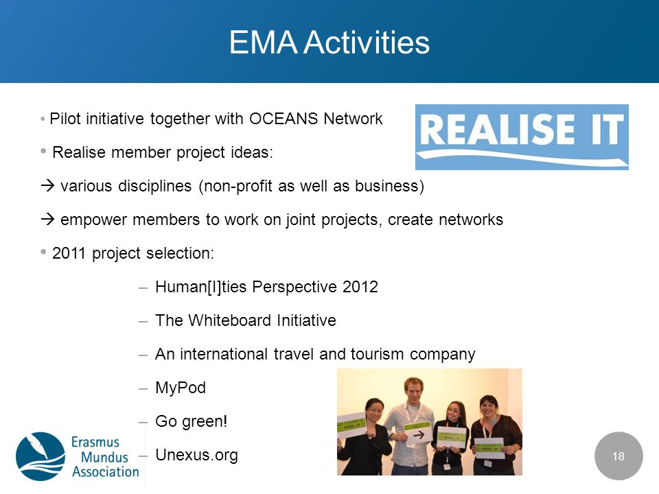 EMA Activities Pilot initiative together with OCEANS Network Realise member project ideas:  various disciplines (non-profit as well as business)  empower members to work on joint projects, create networks 2011 project selection: –Human[I]ties Perspective 2012 –The Whiteboard Initiative –An international travel and tourism company –MyPod –Go green.