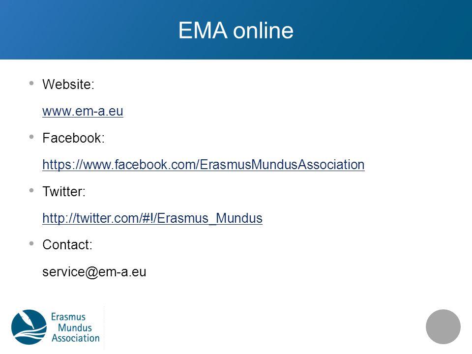 EMA online Website: www.em-a.eu Facebook: https://www.facebook.com/ErasmusMundusAssociation Twitter: http://twitter.com/#!/Erasmus_Mundus Contact: service@em-a.eu