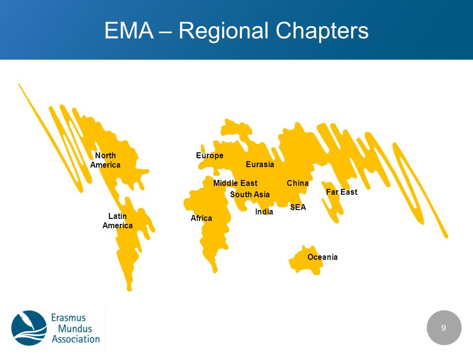 EMA – Regional Chapters 9 North America Latin America Europe Africa Eurasia Middle East SEA China India Far East Oceania South Asia