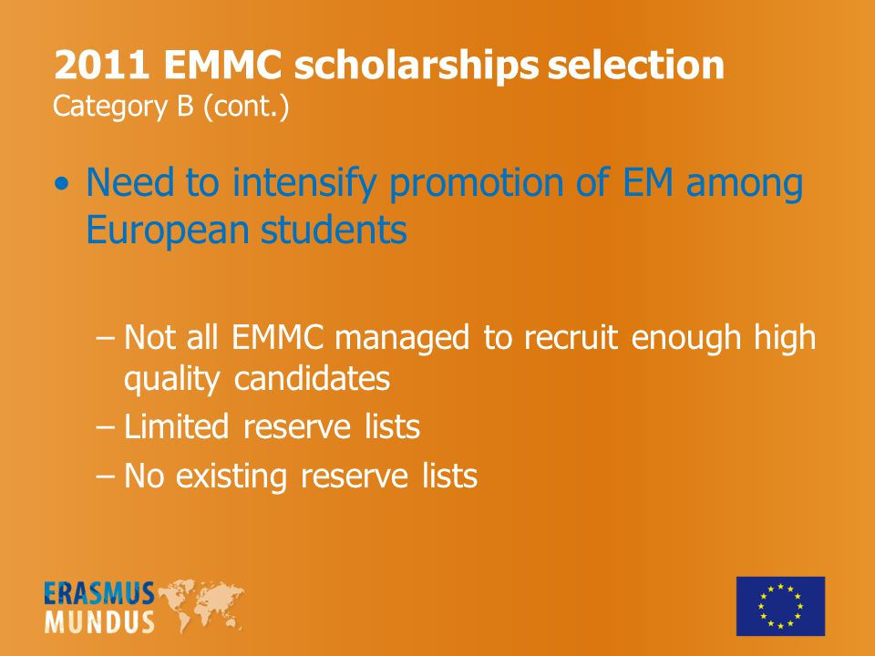 2011 EMMC scholarships selection Category B (cont.) Need to intensify promotion of EM among European students –Not all EMMC managed to recruit enough high quality candidates –Limited reserve lists –No existing reserve lists