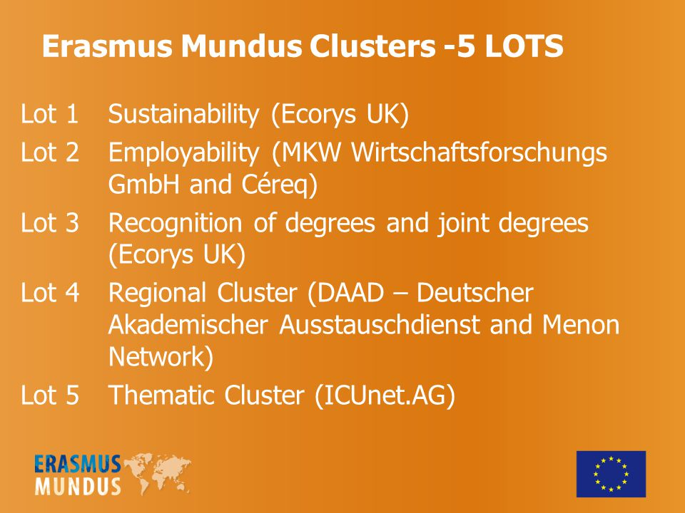Erasmus Mundus Clusters -5 LOTS Lot 1 Sustainability (Ecorys UK) Lot 2 Employability (MKW Wirtschaftsforschungs GmbH and Céreq) Lot 3 Recognition of degrees and joint degrees (Ecorys UK) Lot 4 Regional Cluster (DAAD – Deutscher Akademischer Ausstauschdienst and Menon Network) Lot 5 Thematic Cluster (ICUnet.AG)