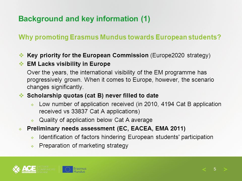 Full Partners Associate Partners Institute of International Education (USA); NARIC-Italia / EM NS Italy (IT); Santander Group (BE); Erasmus Student Network (ESN); Portuguese EM NS (PT) Duration: 36 months (September 2012 – August 2015) Budget: € 247.183,00 Background and key information (2) 6