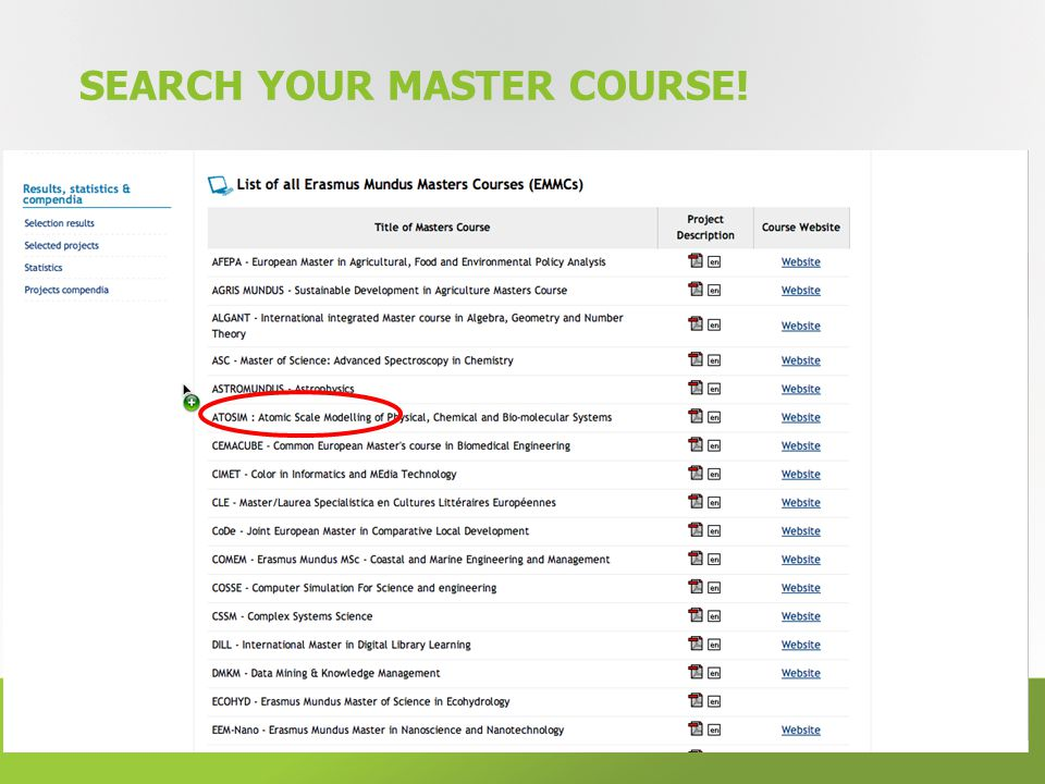 SEARCH YOUR MASTER COURSE! 14