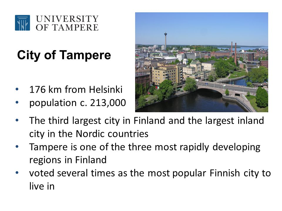 City of Tampere 176 km from Helsinki population c.