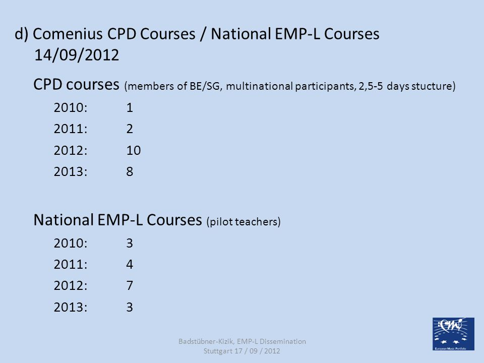 d) Comenius CPD Courses / National EMP-L Courses 14/09/2012 CPD courses (members of BE/SG, multinational participants, 2,5-5 days stucture) 2010:1 201
