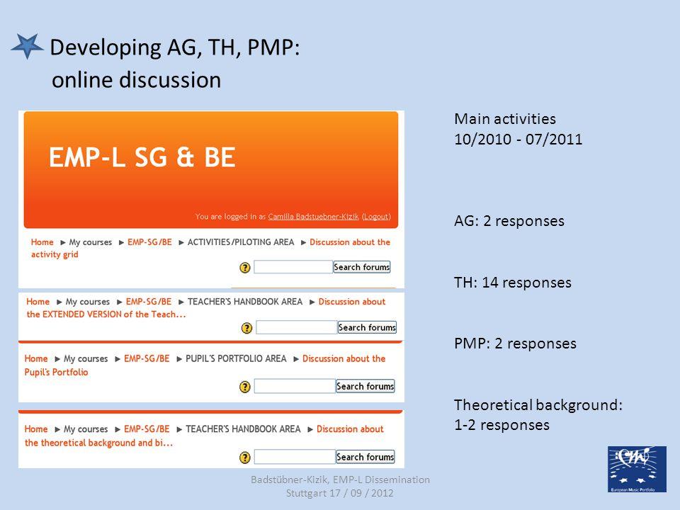 d) Comenius CPD Courses / National EMP-L Courses 14/09/2012 CPD courses (members of BE/SG, multinational participants, 2,5-5 days stucture) 2010:1 2011: 2 2012:10 2013:8 National EMP-L Courses (pilot teachers) 2010:3 2011:4 2012: 7 2013:3 Badstübner-Kizik, EMP-L Dissemination Stuttgart 17 / 09 / 2012