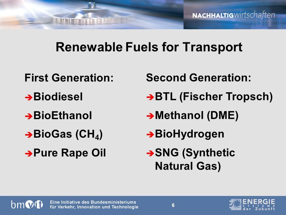 6 Renewable Fuels for Transport First Generation: è Biodiesel è BioEthanol è BioGas (CH 4 ) è Pure Rape Oil Second Generation: è BTL (Fischer Tropsch) è Methanol (DME) è BioHydrogen è SNG (Synthetic Natural Gas)