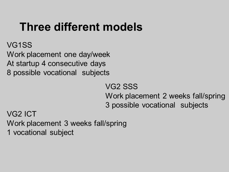 Three different models VG1SS Work placement one day/week At startup 4 consecutive days 8 possible vocational subjects VG2 SSS Work placement 2 weeks fall/spring 3 possible vocational subjects VG2 ICT Work placement 3 weeks fall/spring 1 vocational subject