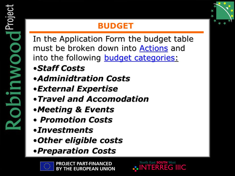 BUDGET In the Application Form the budget table must be broken down into Actions and into the following budget categories: Staff CostsStaff Costs Adminidtration CostsAdminidtration Costs External ExpertiseExternal Expertise Travel and AccomodationTravel and Accomodation Meeting & EventsMeeting & Events Promotion Costs Promotion Costs InvestmentsInvestments Other eligible costsOther eligible costs Preparation CostsPreparation Costs