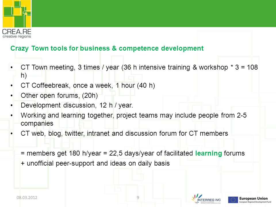 Crazy Town tools for business & competence development CT Town meeting, 3 times / year (36 h intensive training & workshop * 3 = 108 h) CT Coffeebreak, once a week, 1 hour (40 h) Other open forums, (20h) Development discussion, 12 h / year.