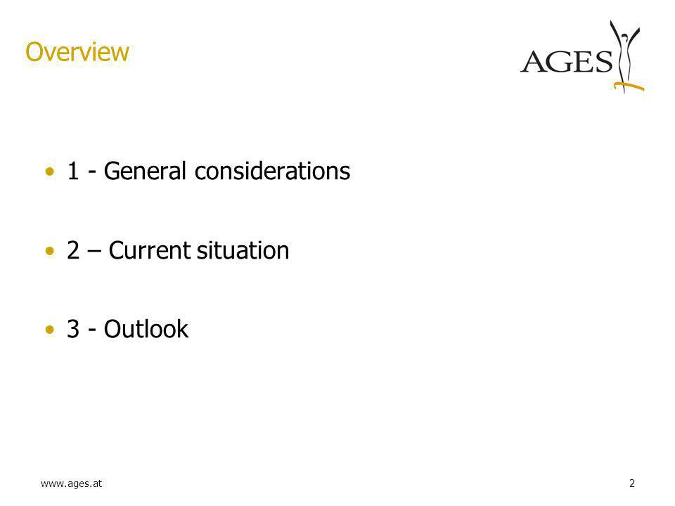 www.ages.at2 Overview 1 - General considerations 2 – Current situation 3 - Outlook