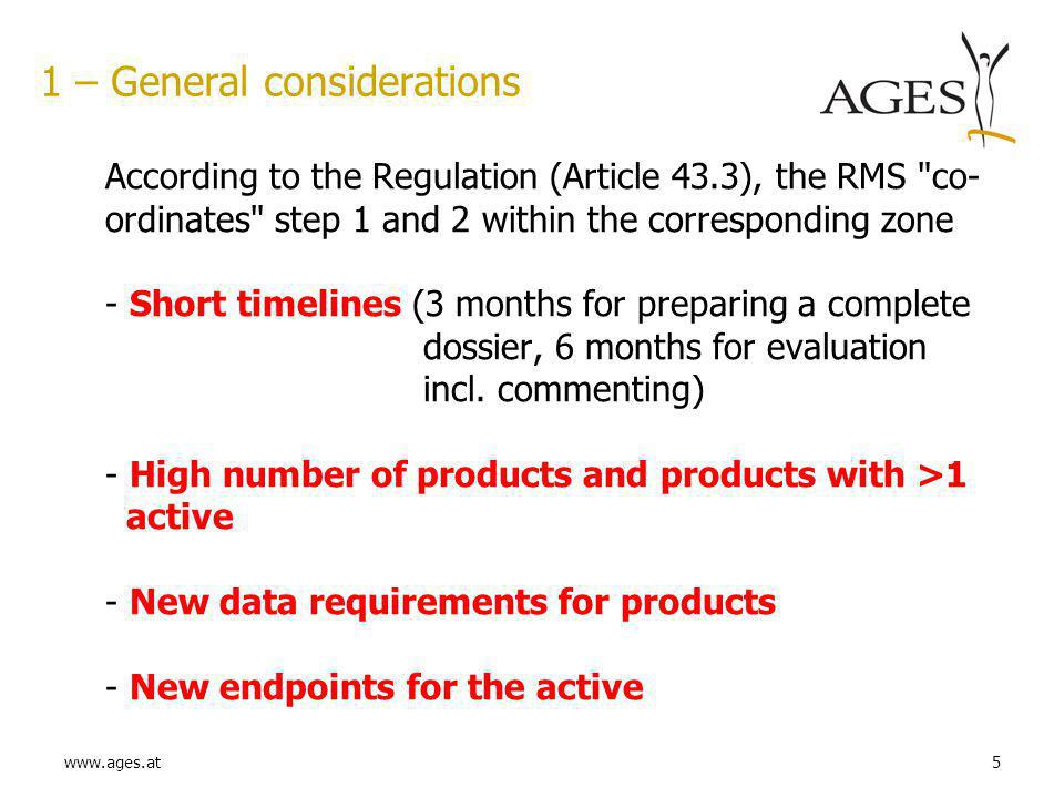 www.ages.at5 1 – General considerations According to the Regulation (Article 43.3), the RMS