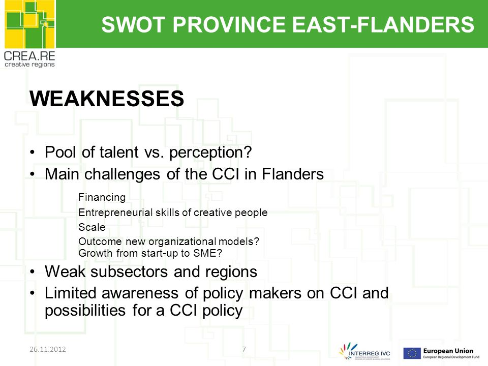 SWOT PROVINCE EAST-FLANDERS WEAKNESSES Pool of talent vs.