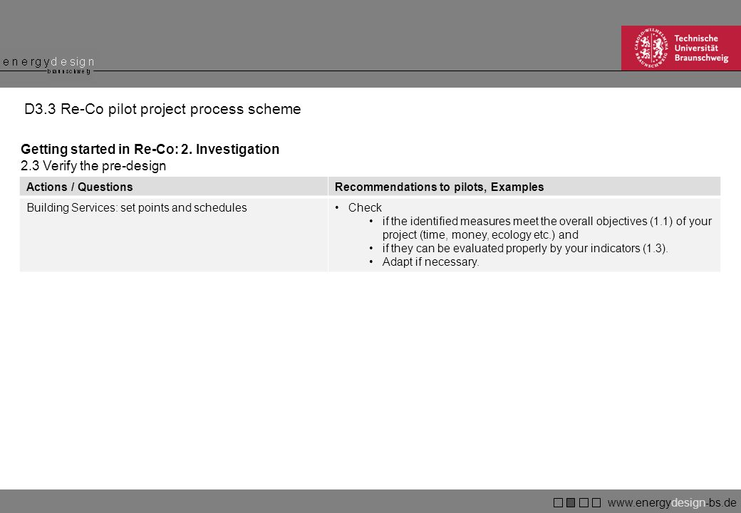 www.energydesign-bs.de braunschweig D3.3 Re-Co pilot project process scheme Getting started in Re-Co: 2.