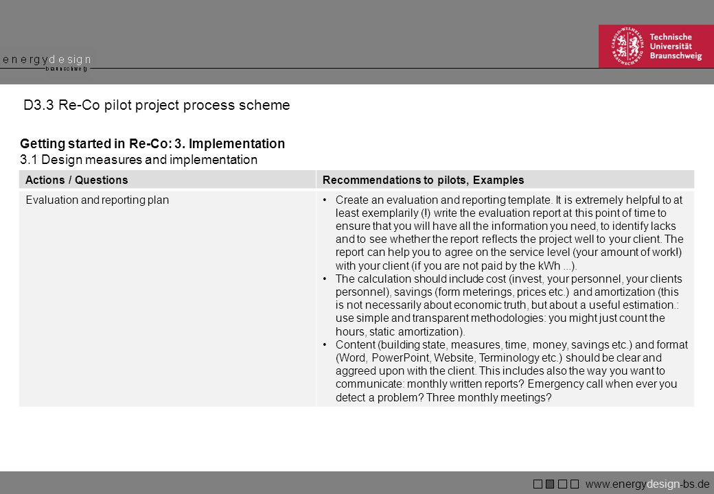 www.energydesign-bs.de braunschweig D3.3 Re-Co pilot project process scheme Getting started in Re-Co: 3.
