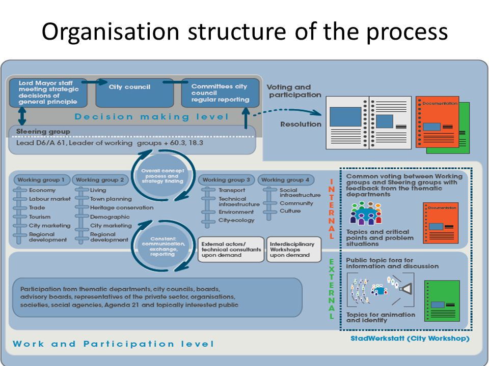 Organisation structure of the process