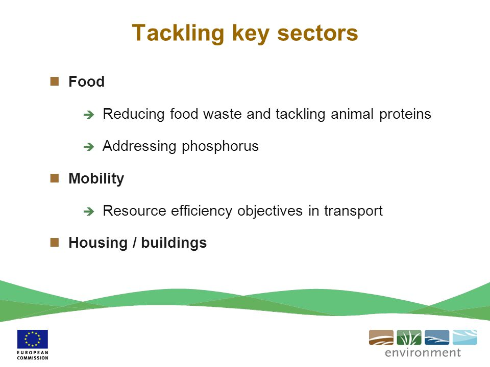 Tackling key sectors Food  Reducing food waste and tackling animal proteins  Addressing phosphorus Mobility  Resource efficiency objectives in tran