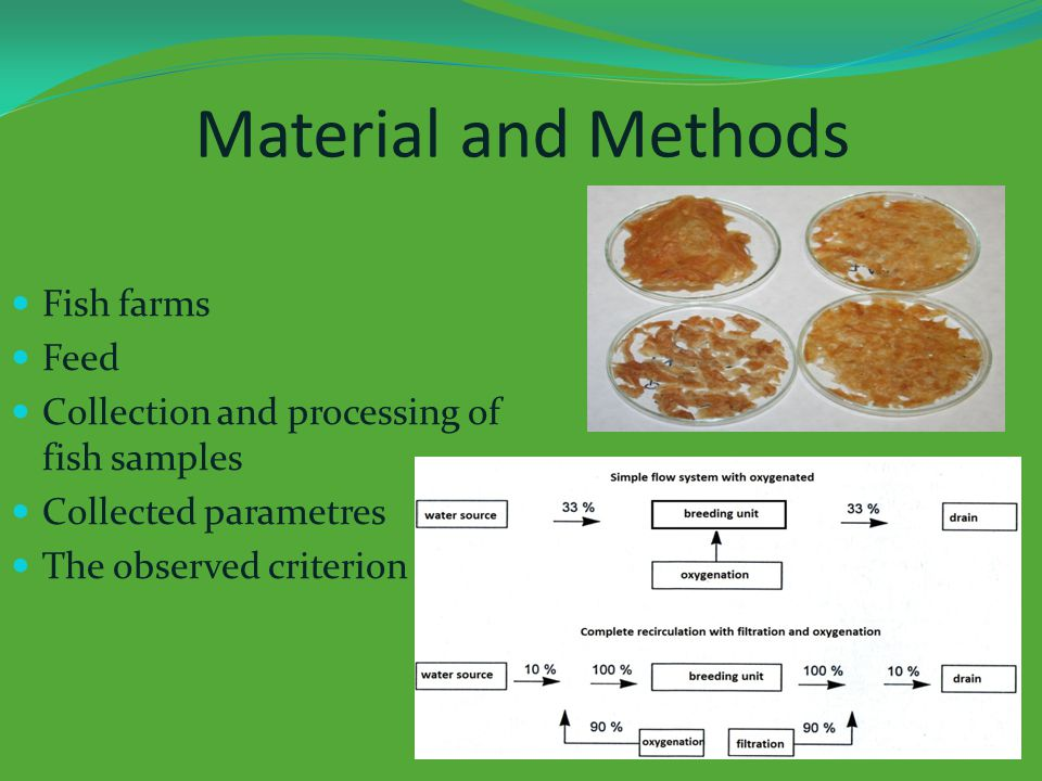 Material and Methods Fish farms Feed Collection and processing of fish samples Collected parametres The observed criterion