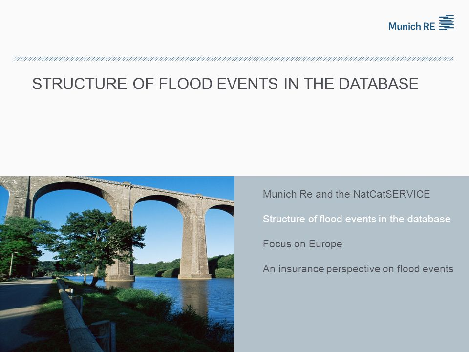  surface flooding  property damage often reduced, sometimes even avoided without flood control T = 8 h Natural catastrophes in Europe 1980 – 2010 An insurance perspective of flood events NatCatSERVICE © 2011 Münchener Rückversicherungs-Gesellschaft, Geo Risks Research, NatCatSERVICE – As at May 2011