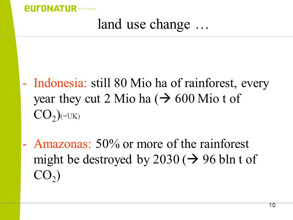 10 land use change … -Indonesia: still 80 Mio ha of rainforest, every year they cut 2 Mio ha (  600 Mio t of CO 2 ) (=UK) -Amazonas: 50% or more of the rainforest might be destroyed by 2030 (  96 bln t of CO 2 )