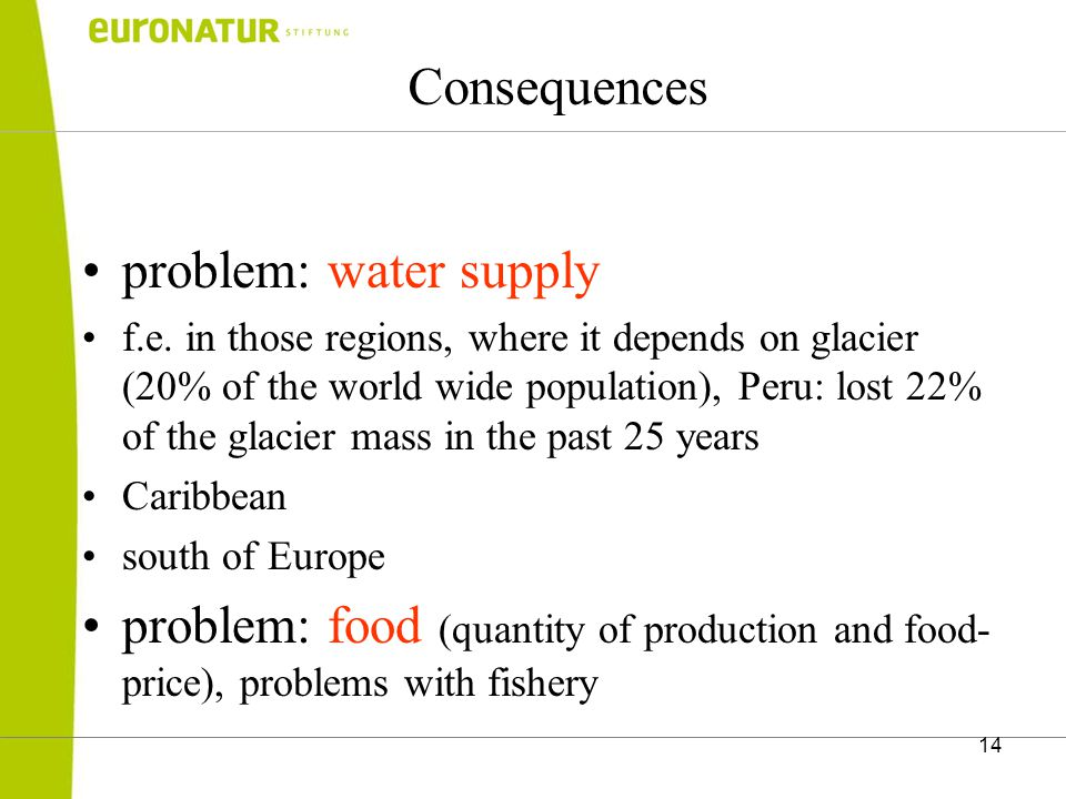 14 Consequences problem: water supply f.e.