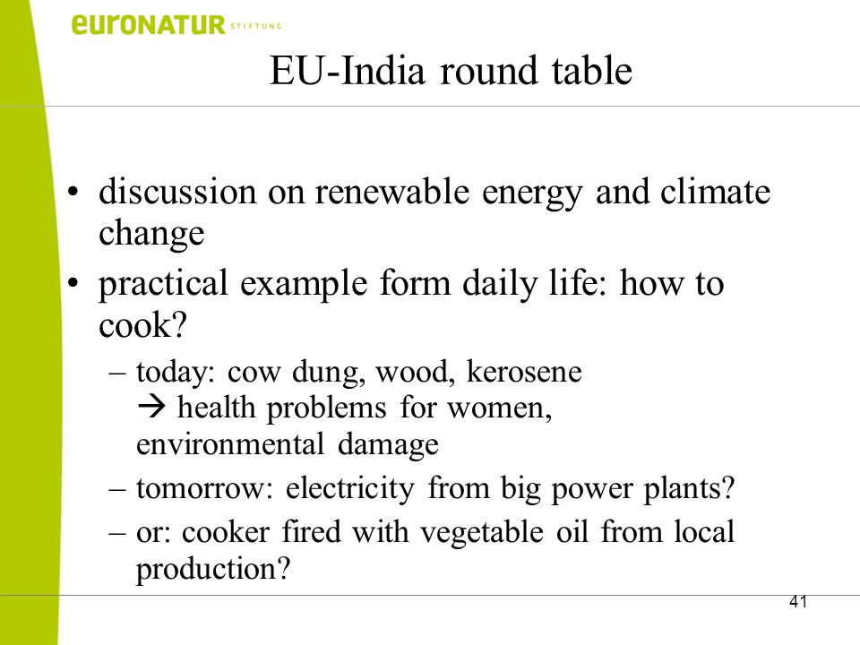 41 EU-India round table discussion on renewable energy and climate change practical example form daily life: how to cook.