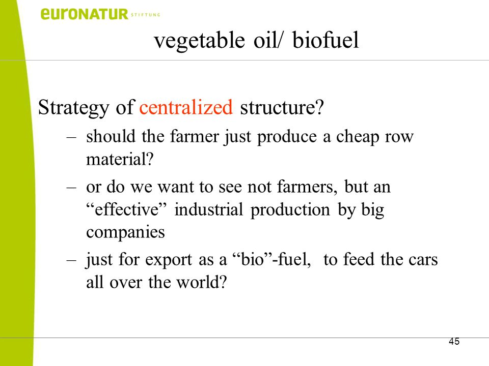 45 vegetable oil/ biofuel Strategy of centralized structure.
