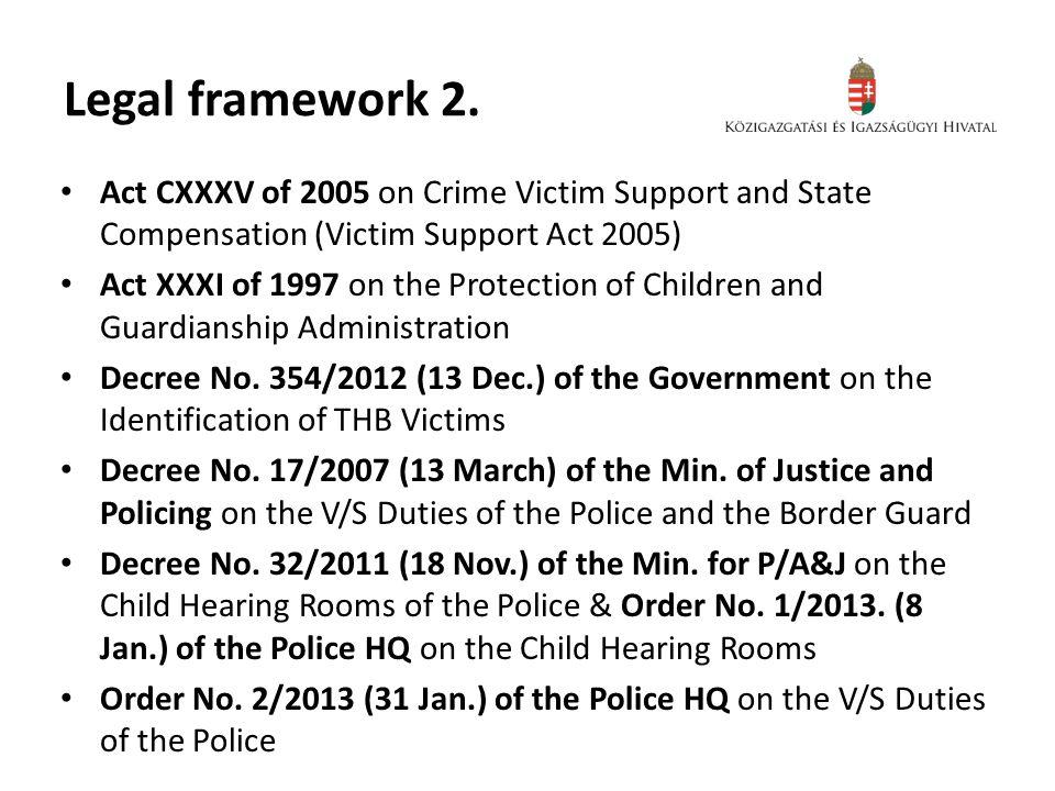 Legal framework 2.