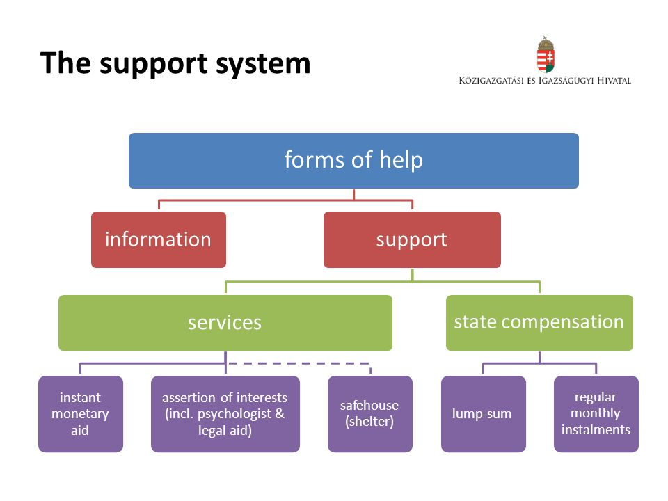 The support system forms of help informationsupport services instant monetary aid assertion of interests (incl.