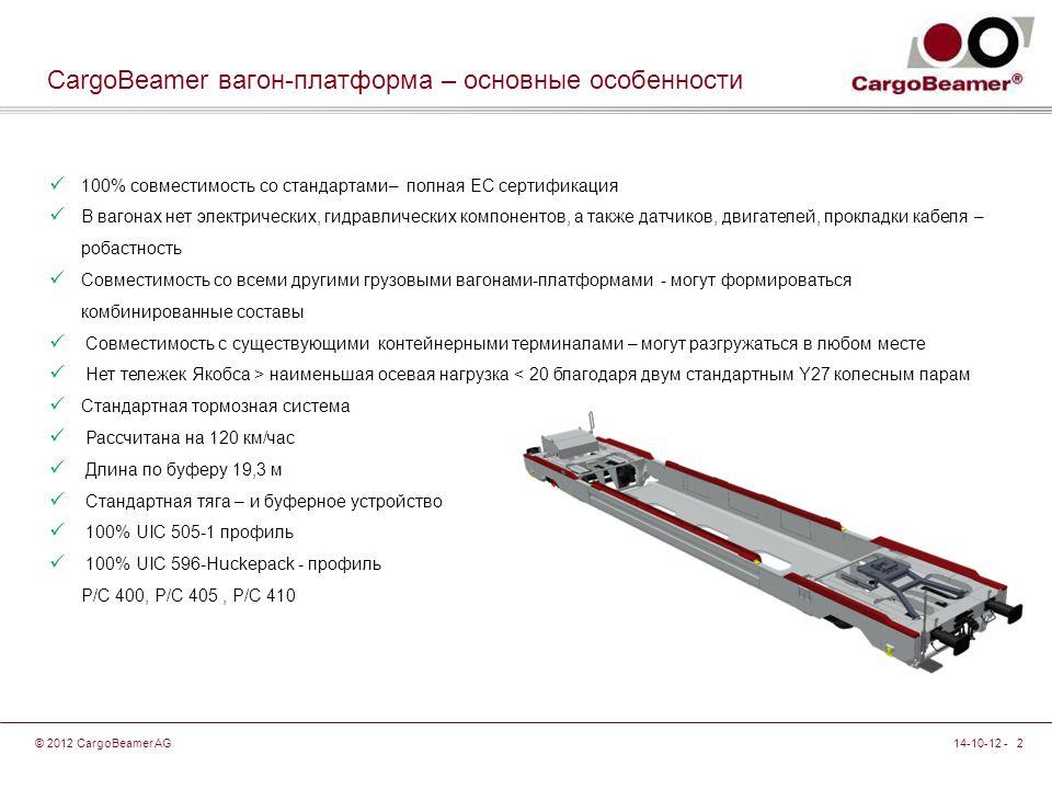 14-10-12 - 2© 2012 CargoBeamer AG CargoBeamer вагон-платформа – основные особенности 100% совместимость со стандартами– полная ЕС сертификация В вагонах нет электрических, гидравлических компонентов, а также датчиков, двигателей, прокладки кабеля – робастность Совместимость со всеми другими грузовыми вагонами-платформами - могут формироваться комбинированные составы Совместимость с существующими контейнерными терминалами – могут разгружаться в любом месте Нет тележек Якобса > наименьшая осевая нагрузка < 20 благодаря двум стандартным Y27 колесным парам Стандартная тормозная система Рассчитана на 120 км/час Длина по буферу 19,3 м Стандартная тяга – и буферное устройство 100% UIC 505-1 профиль 100% UIC 596-Huckepack - профиль P/C 400, P/C 405, P/C 410