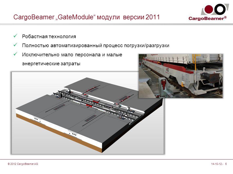 """14-10-12 - 5© 2012 CargoBeamer AG CargoBeamer """"GateModule модули версии 2011 Робастная технология Полностью автоматизированный процесс погрузки/разгрузки Исключительно мало персонала и малые энергетические затраты"""