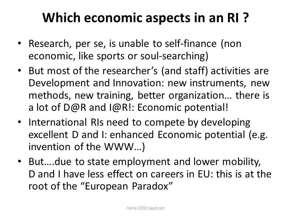Which economic aspects in an RI .