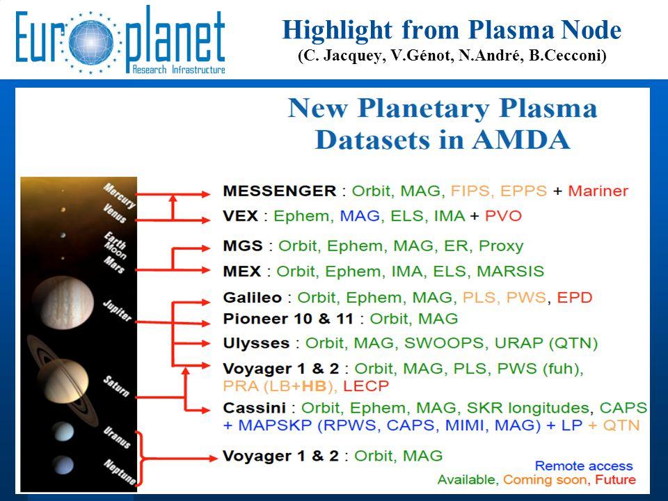 15 Highlight from Plasma Node (C. Jacquey, V.Génot, N.André, B.Cecconi)
