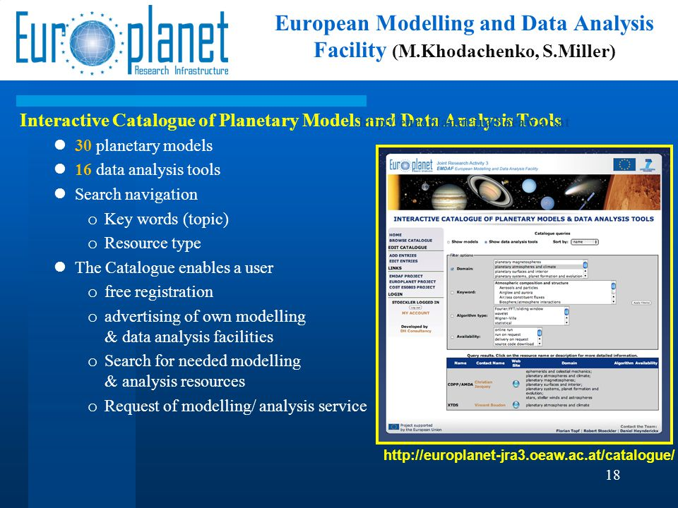 Interactive Catalogue of Planetary Models and Data Analysis Tools 30 planetary models 16 data analysis tools Search navigation o Key words (topic) o R