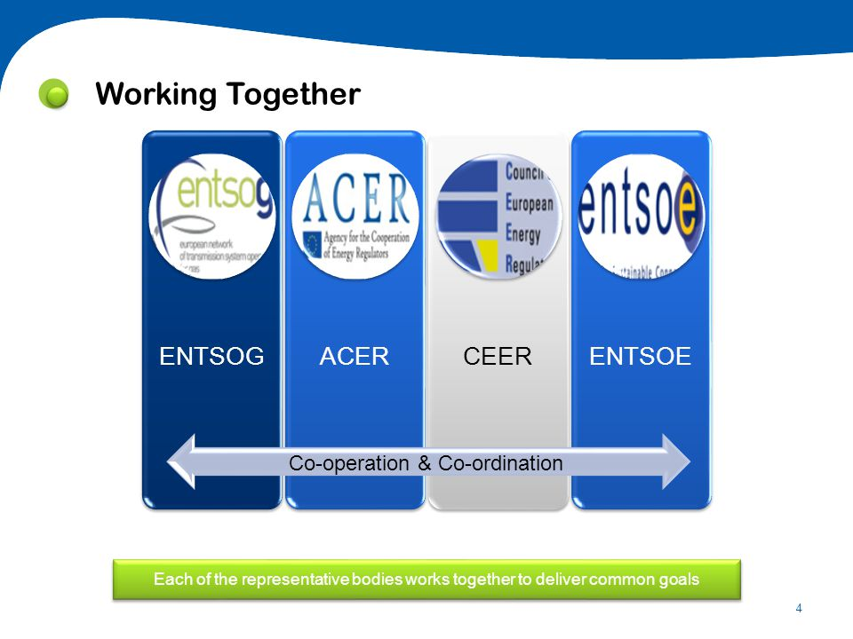 4 Co-operation & Co-ordination Each of the representative bodies works together to deliver common goals Working Together