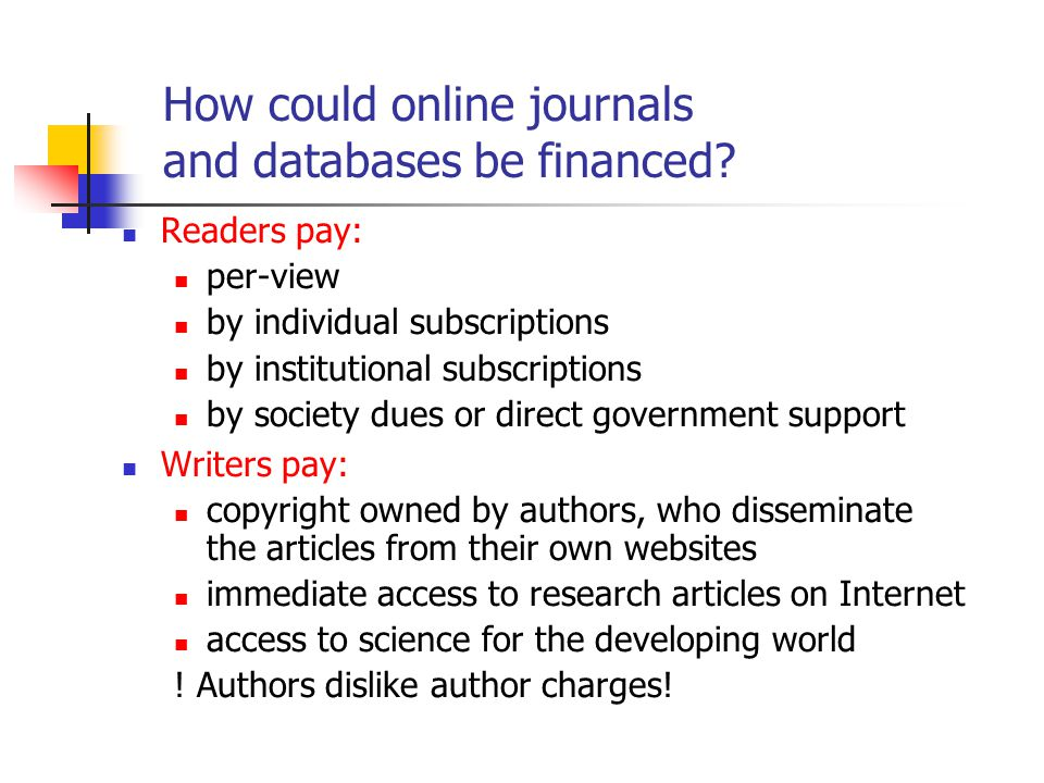 How could online journals and databases be financed.