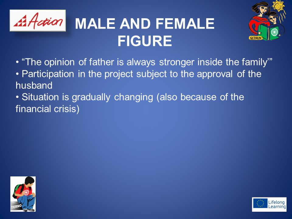 "MALE AND FEMALE FIGURE ""The opinion of father is always stronger inside the family'"" Participation in the project subject to the approval of the husba"