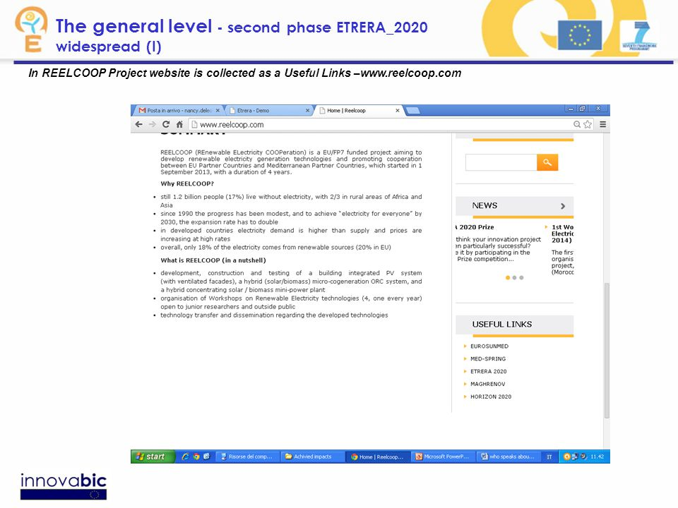 In REELCOOP Project website is collected as a Useful Links –www.reelcoop.com The general level - second phase ETRERA_2020 widespread (I)