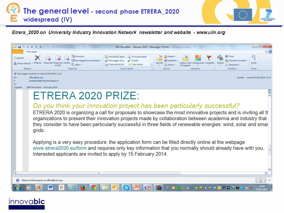 Etrera_2020 on University Industry Innovation Network newsletter and website - www.uiin.org The general level - second phase ETRERA_2020 widespread (IV)
