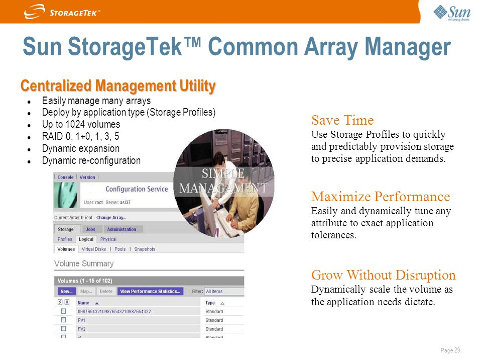 Page 29 Centralized Management Utility Easily manage many arrays Deploy by application type (Storage Profiles) ‏ Up to 1024 volumes RAID 0, 1+0, 1, 3, 5 Dynamic expansion Dynamic re-configuration Save Time Use Storage Profiles to quickly and predictably provision storage to precise application demands.