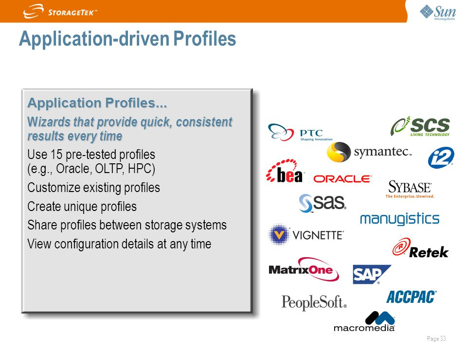 Page 33 Application Profiles... W izards that provide quick, consistent results every time Use 15 pre-tested profiles (e.g., Oracle, OLTP, HPC)  Cust