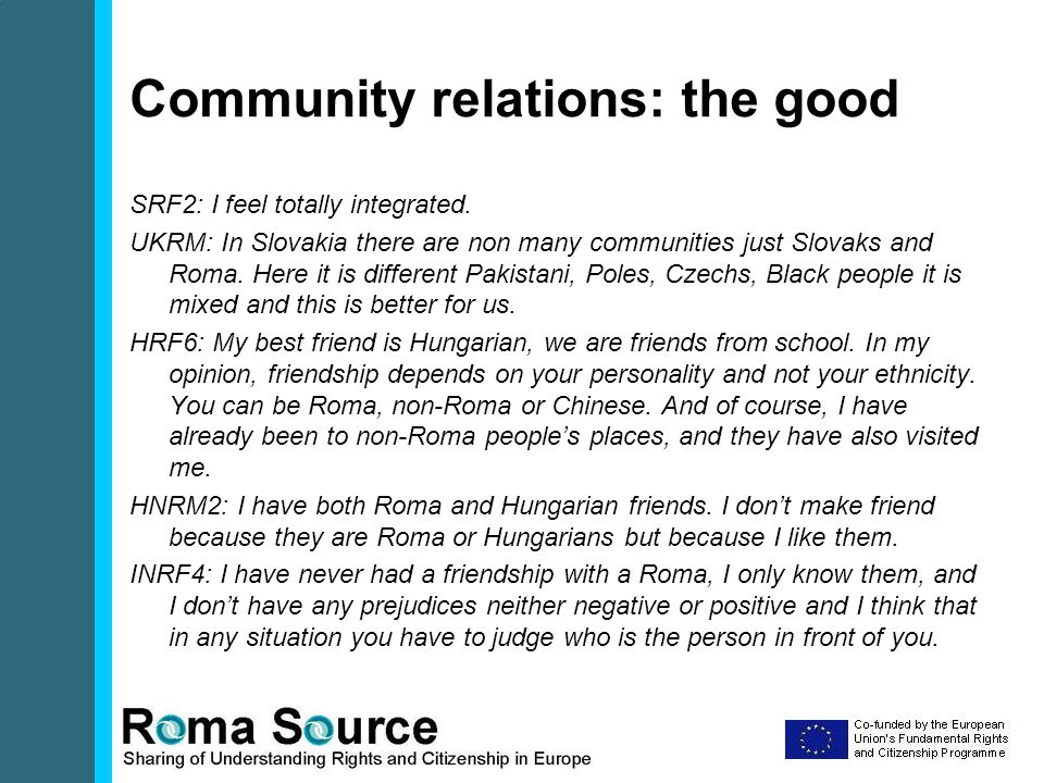 Community relations: the good SRF2: I feel totally integrated.