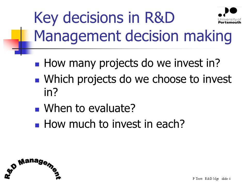 P Trott R&D Mgt slide 15 Is internal R&D the only option? Types of R&D